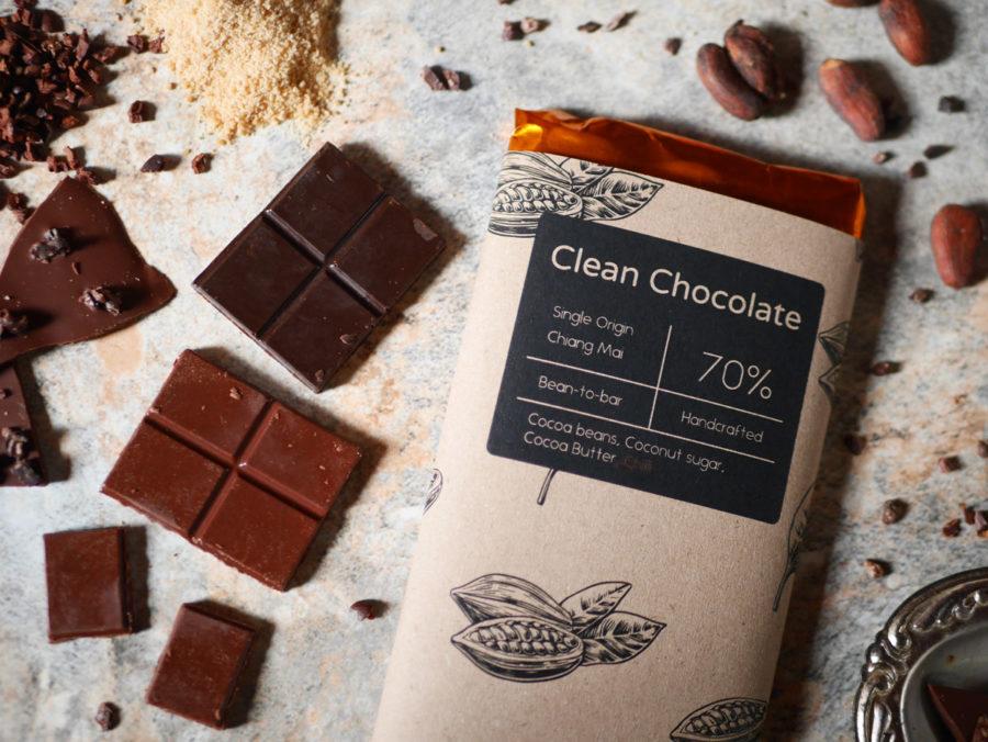 Clean chocolate クリーンチョコレートはチェンマイ産のチョコレート。 旧市街のアムリタガーデンで購入可能